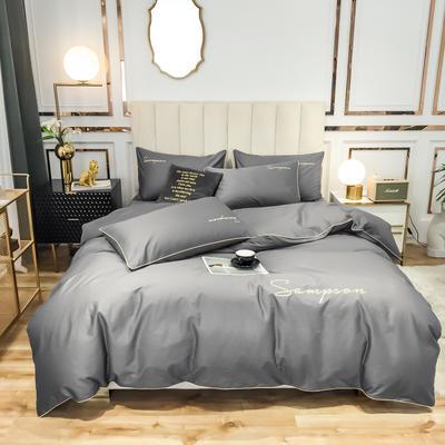2020新款50S长绒棉纯色绣花四件套 1.5m床单款 爵士灰