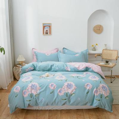 2019新款全棉12868印花四件套 1.2m(4英尺)床 锦绣未央-蓝