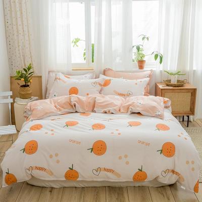 2019新款全棉12868印花四件套 1.2m(4英尺)床 开心橙
