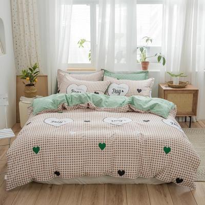 2019新款全棉12868印花四件套 1.2m(4英尺)床 甜蜜时光-咖