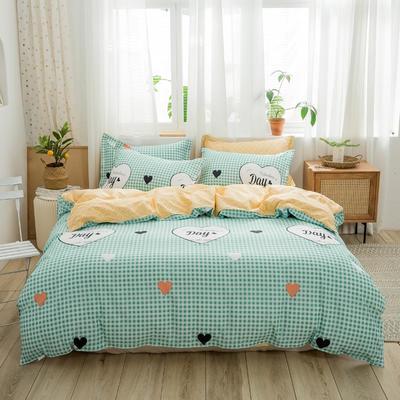2019新款全棉12868印花四件套 1.2m(4英尺)床 甜蜜时光-绿