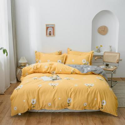 2020新款全棉12686印花多规格床笠款四件套 1.2m床笠款三件套 花漾-黄