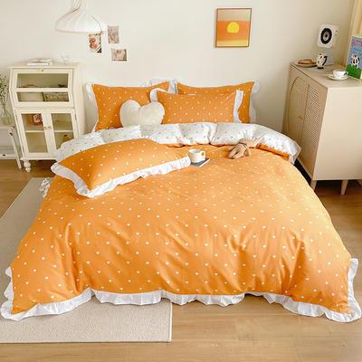 2021新款13372全棉喷气印花四件套 1.8m床单款四件套 爱心-橘
