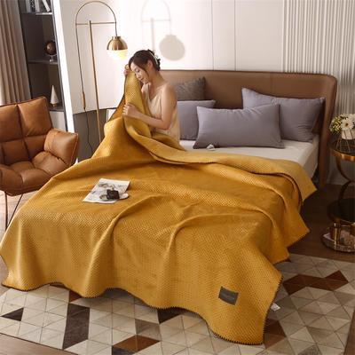 2021新款牛奶绒多功能盖毯毛毯 150x230cm 牛奶绒多功能毛毯-姜黄