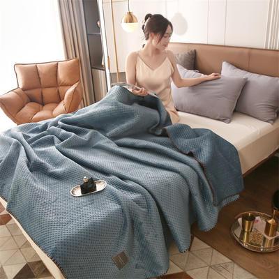 2021新款牛奶绒多功能盖毯毛毯 150x230cm 牛奶绒多功能毛毯-深蓝