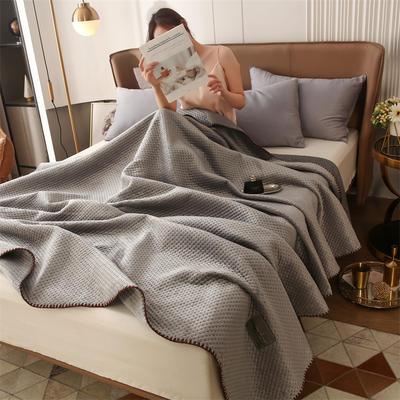 2021新款牛奶绒多功能盖毯毛毯 150x230cm 牛奶绒多功能毛毯-银灰