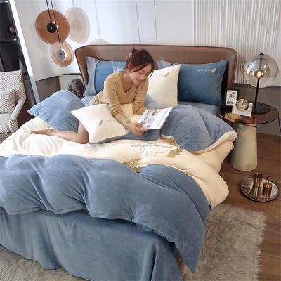 2021新款拼色烫画牛奶绒四件套 1.2米床单款三件套 金羽白