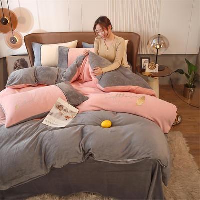 2021新款拼色烫画牛奶绒四件套 1.2米床单款三件套 金羽粉