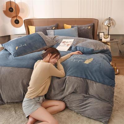 2021新款拼色烫画牛奶绒四件套 1.2米床单款三件套 金羽蓝