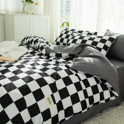 2021新款无印水洗亲肤棉四件套 1.5米床单款四件套 黑格子