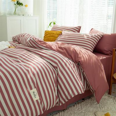 2021新款无印水洗亲肤棉四件套 1.5米床单款四件套 红条