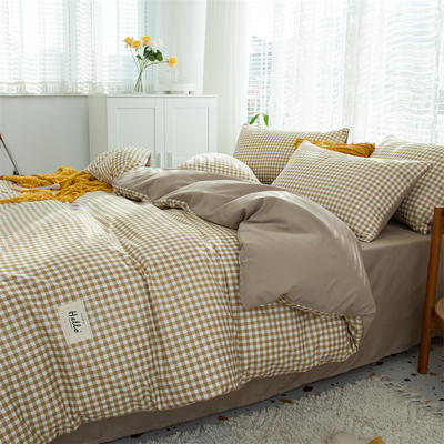 2021新款无印水洗亲肤棉四件套 1.2米床单款三件套 黄白格