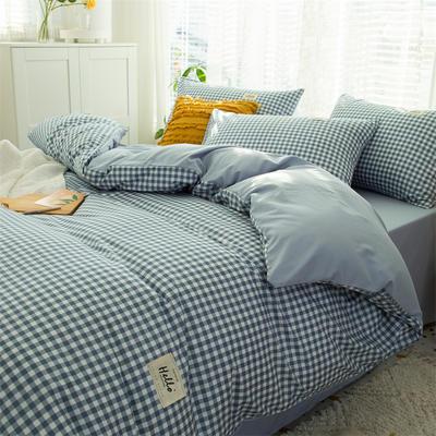 2021新款无印水洗亲肤棉四件套 1.2米床单款三件套 蓝白格