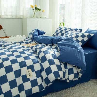 2021新款无印水洗亲肤棉四件套 1.5米床单款四件套 蓝格子