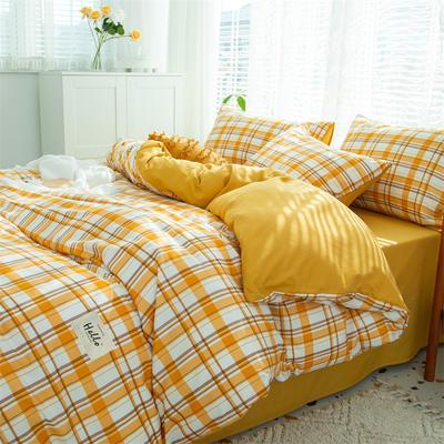 2021新款无印水洗亲肤棉四件套 1.2米床单款三件套 清新黄