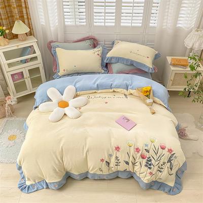 2021新款韩版牛奶绒重工刺绣四件套 1.8米床单款四件套 兰香亭奶昔黄