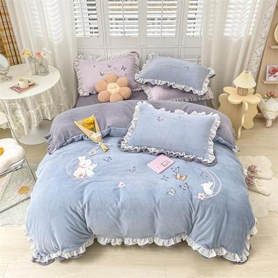 2021新款韩版牛奶绒重工刺绣四件套 1.8米床单款四件套 甜蜜兔甘蓝