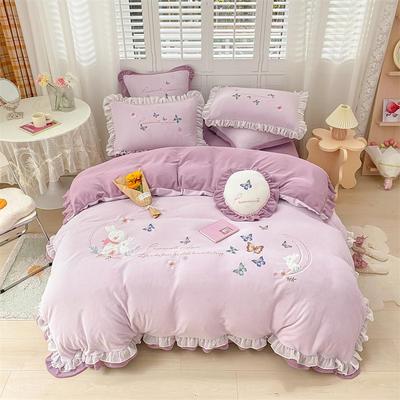 2021新款韩版牛奶绒重工刺绣四件套 1.8米床单款四件套 甜蜜兔魅紫