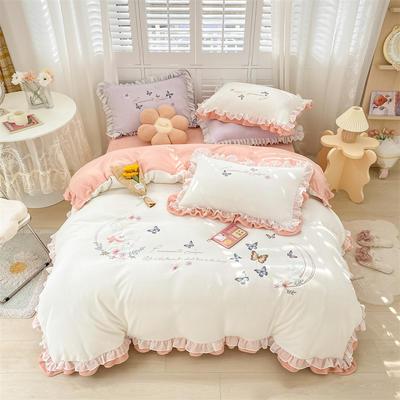 2021新款韩版牛奶绒重工刺绣四件套 1.8米床单款四件套 甜蜜兔米月白