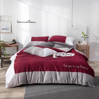 2020新款臻丝棉拼色刺绣四件套 1.5m床单款 尊贵红