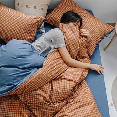 2020新款全棉水洗棉四件套-格子系列 1.2m床单款三件套 火焰橙