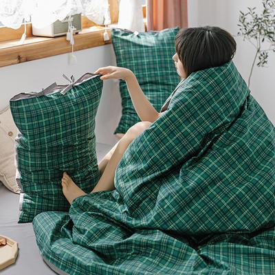 2020新款全棉水洗棉四件套-格子系列 1.2m床单款三件套 松柏绿