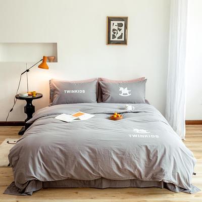 2020新款全棉水洗棉烫银植绒系列四件套 1.2m床单款三件套 独角兽-气质灰