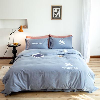 2020新款全棉水洗棉烫银植绒系列四件套 1.2m床单款三件套 独角兽-雾霾蓝
