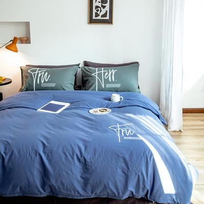 2020新款全棉水洗棉烫银植绒系列四件套 1.2m床单款三件套 奋发-海蓝