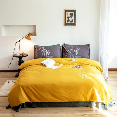 2020新款全棉水洗棉烫银植绒系列四件套 1.2m床单款三件套 奋发-杏黄