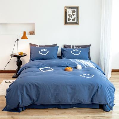2020新款全棉水洗棉烫银植绒系列四件套 1.2m床单款三件套 笑脸-海蓝