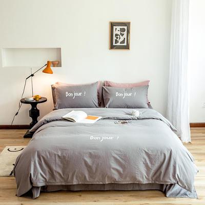 2020新款全棉水洗棉烫银植绒系列四件套 1.2m床单款三件套 早安-气质灰