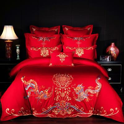 2019新款40S13376绣花婚庆大红多件套--龙凤喜悦 1.8m床 四件套床单款
