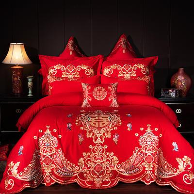 2019新款40S13376绣花婚庆大红多件套--真爱一生 1.8m床 四件套床单款