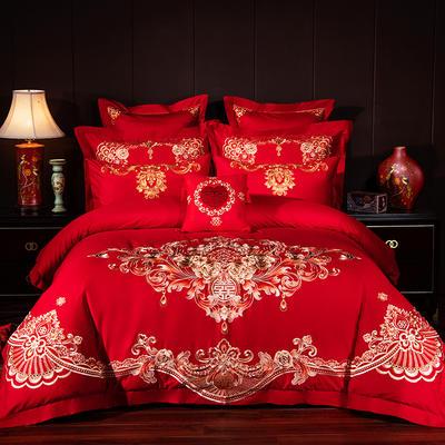 2019新款40S13376绣花婚庆大红多件套--天作之合 1.5m床 四件套床单款