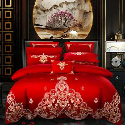 2019新款60支长绒棉喷气绣花婚庆大红四件套多件套--天作之合 1.5m床 四件套床单款