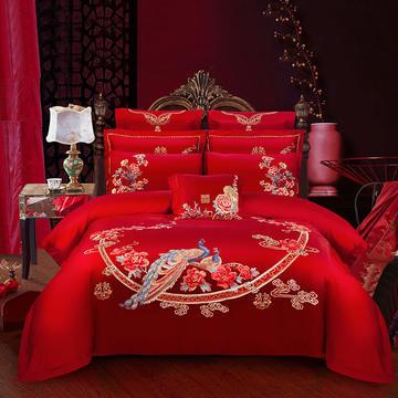 2019新款双面80长绒棉绣花婚庆大红四件套多件套--鸾凤和鸣