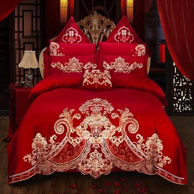 2019新款双面60长绒棉喷气绣花四件套多件套--爱之倾城 1.8m(6英尺)床 床单款四件套