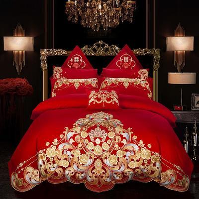 2019新款双面40S13376全棉喷气绣花四件套多件套--皇家传奇 1.8m(6英尺)床 床单款四件套