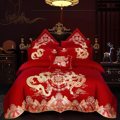 2019新款双面40S13376全棉喷气绣花四件套多件套--龙凤相约 1.8m(6英尺)床 床单款四件套
