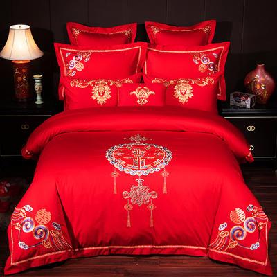 蒂爵-2019新款13376全棉40支喷气绣花婚庆大红四件套多件套(总) 1.8m(6英尺)床 中国风彩
