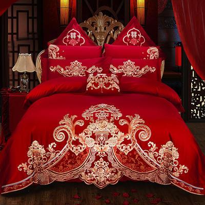 (总)蒂爵 2019新款60支长绒棉绣花大红婚庆四件套多件套全棉套件 1.5m(5英尺)床 爱之倾城
