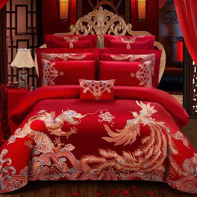 (总)蒂爵2109新款100支长绒棉婚庆四件套多件套大红绣花四件套 1.5m(5英尺)床 江山如画