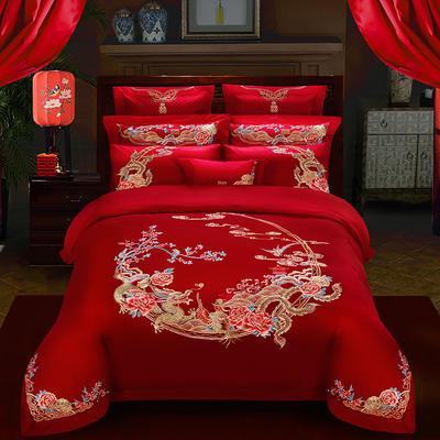 (总)蒂爵2109新款100支长绒棉婚庆四件套多件套大红绣花四件套 1.8m(6英尺)床 龙凤传奇