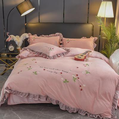 水晶绒四件套--甜心系列 1.8m床单款 裸粉