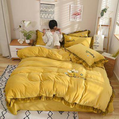 水晶绒四件套--花语 1.8m床单款 柠檬黄