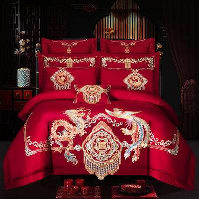 2019新款100支长绒棉绣花婚庆大红四件套多件套—龙凤呈祥 1.8m(6英尺)床 床单款四件套