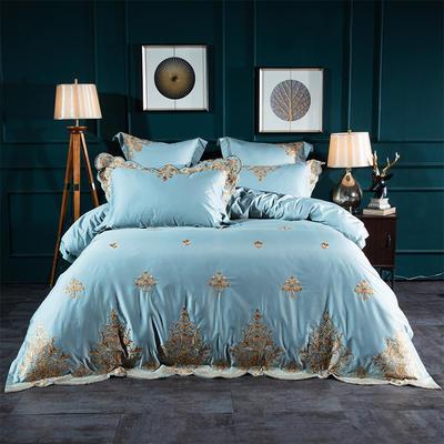 2019新款100支(雙面)長絨棉高端繡花居家系列四件套 1.5m床單款 花影琉璃冰雪藍