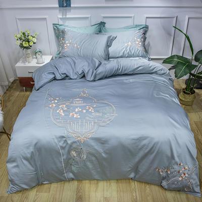 2020新款60長絨棉中式刺繡四件套 1.5m床單款四件套 黛伊凝思灰藍