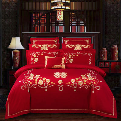 2020新款80支长绒棉双面刺绣婚庆简约款多件套—喜事成双 1.5m(5英尺)床 床单款四件套
